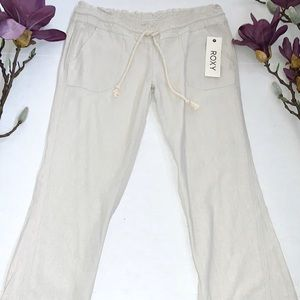 NWT Roxy Khaki Linen Oceanside Pants Small